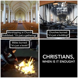 Christians, when will we take a stand? When will we finally say 'enough'? Radical leftists are burning God's churches and God's word, and Christians are virtually silent. Christians are being prohibited to gather in Jesus' name and many sit by and are content to let it happen. When will we stand up for our faith? We cannot let these attacks continue. When do we start turning tables and defending our God and His Church?