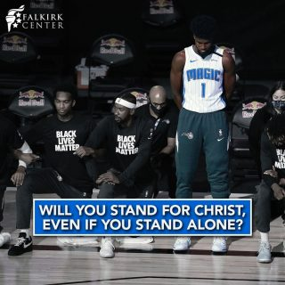 Last night, we saw actual courage on display from NBA player Jonathan Isaac. When the weight of the culture and his peers around him was on his shoulders to kneel in submission to all that the action would represent in that context: the lie that there is systemic racism in America, the lie that police are a significant threat to black lives, the lie that we should be identifying ourselves by skin color, and the lie that the Black Lives Matter Organization is of any benefit to black lives, when he faced the pressure to bend his knee for the cause of cultural Marxism, Jonathan Isaac stood. Jonathan Isaac stood because he knew that none of the actions being taken by those around him would help solve the sin of racism or police brutality and that ultimately, there is only one thing that can heal our brokenness and move us beyond the naivety of thinking that our skin color defines us in any way, and that is the saving grace of Jesus Christ. The result? Today, millions around the country heard the gospel from the mouth of one man who had the courage to stand alone in defiance of what his culture wanted him to submit to. Will you have the courage to do the same?
