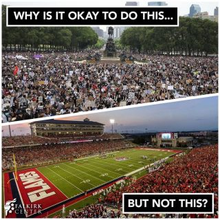 """Maybe we should just call college football games """"peaceful protests.""""🧐  Like if you think that they should play ball!"""