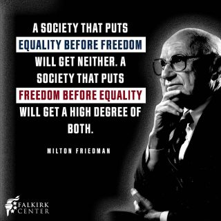 The left sees equality of outcome as a noble end, brought about by controlling people's lives to ensure that one person does not end up with more than another. This is not only immoral, but counterproductive. If you seek freedom first, you get both a high degree of freedom and equality. If you seek equality first, you get neither.