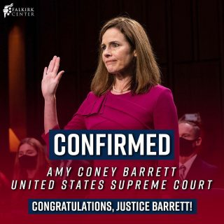 BREAKING: The U.S. Senate voted 52-48 to confirm Judge Amy Coney Barrett to the U.S. Supreme Court. The devout Christian, wife, & mother of seven will be filling the vacancy left by the late Justice Ruth Bader Ginsburg, a resilient jurist who anchored the Court's liberal bloc. Congratulations, Justice Barrett!